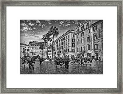 Piazza Di Spagna B/w Framed Print