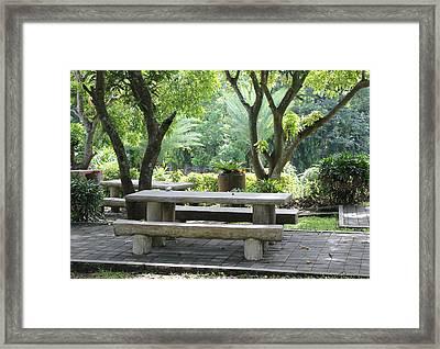 Picnic Table Framed Print by Lorna Maza