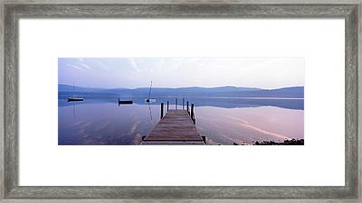 Pier, Pleasant Lake, New Hampshire, Usa Framed Print by Panoramic Images
