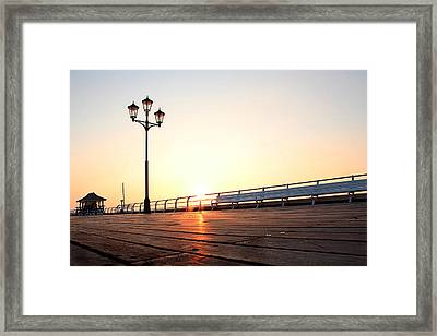 Pier Sunrise Framed Print