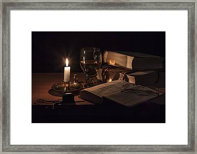 Vanitas With Lit Candle-roemer And Books Framed Print by Levin Rodriguez