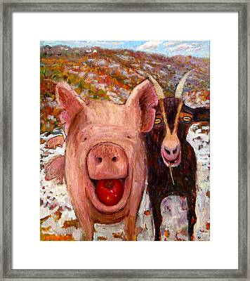 Pig And Goat Framed Print