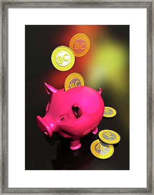 Piggy Bank And Bitcoins Framed Print by Victor Habbick Visions