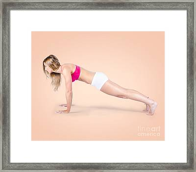 Pilates Fitness Intructor On White Background Framed Print by Jorgo Photography - Wall Art Gallery