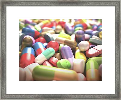 Pills And Tablets Framed Print