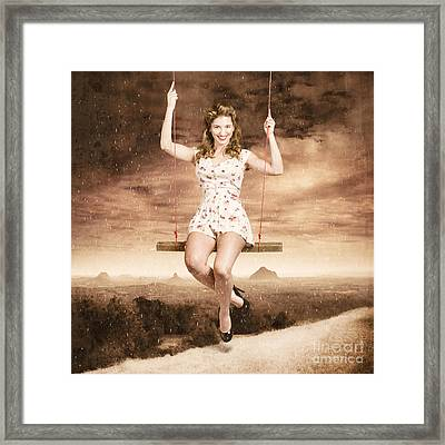 Pin-up Beauty Enjoying Summer Rain In Australia  Framed Print