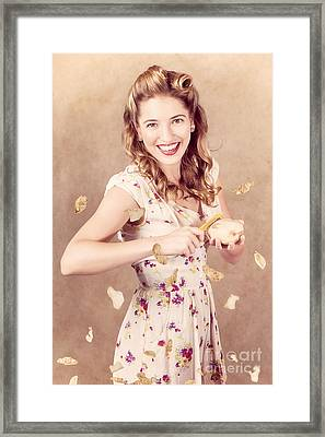 Pin-up Cooking Girl Peeling Potato. Quick Recipe Framed Print by Jorgo Photography - Wall Art Gallery