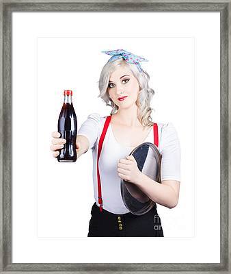 Pin-up Girl Holding Soft Drink Bottle Framed Print by Jorgo Photography - Wall Art Gallery