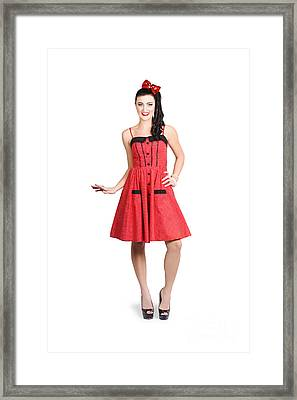 Pin-up Girl In Full Portrait With Beautiful Figure Framed Print
