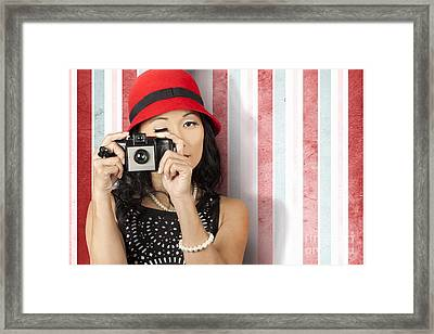 Pin-up Photographer In 40s Fashion Holding Camera Framed Print