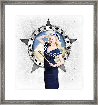 Pin-up Sailor Girl On Boat. Holiday Abroad Framed Print by Jorgo Photography - Wall Art Gallery