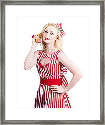 Pin Up Woman Ordering Organic Food On Banana Phone Framed Print by Jorgo Photography - Wall Art Gallery