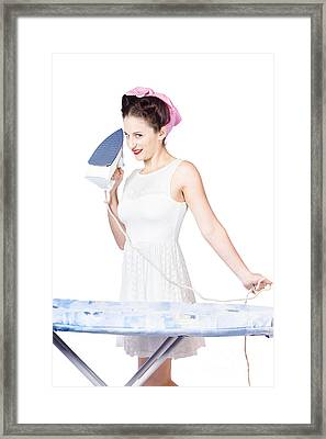 Pin Up Woman Providing Steam Clean Ironing Service Framed Print by Jorgo Photography - Wall Art Gallery