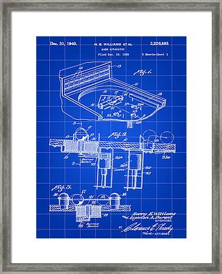 Pinball Machine Patent 1939 - Blue Framed Print