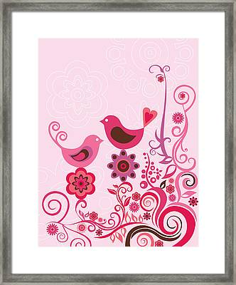 Pink Birds And Ornaments Framed Print