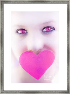 Pink Eyed Woman And Love Heart Framed Print by Jorgo Photography - Wall Art Gallery