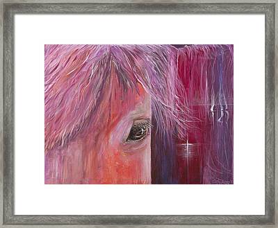 Framed Print featuring the painting Pink Pony by Cathy Long
