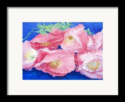 One Single Pink Poppy Flower Framed Prints
