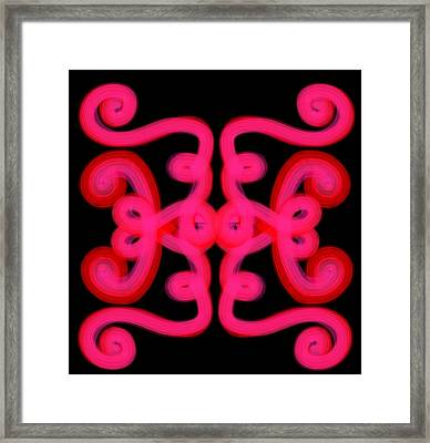 Framed Print featuring the digital art Pink Scroll by Christine Fournier