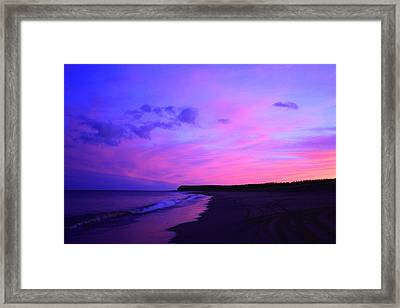Pink Sky And Beach Framed Print by Jason Lees