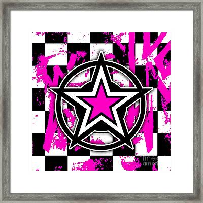 Pink Star Checkerboard Framed Print