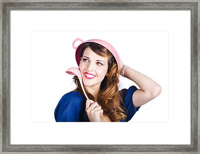 Pinup Cook In Funny Pose Framed Print by Jorgo Photography - Wall Art Gallery