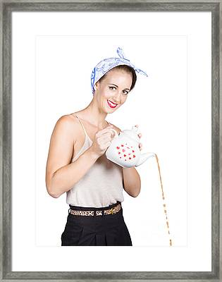 Pinup Girl Pouring Coffee Framed Print by Jorgo Photography - Wall Art Gallery