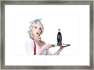 Pinup Girl Waiter Holding Silver Soda Tray Framed Print by Jorgo Photography - Wall Art Gallery