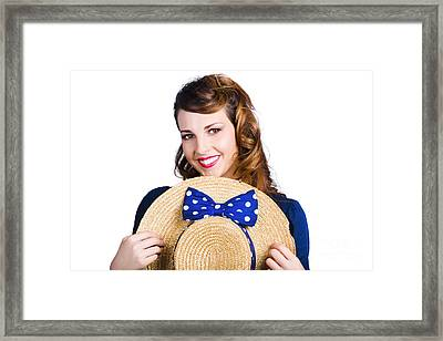 Pinup Girl With Straw Hat Framed Print by Jorgo Photography - Wall Art Gallery