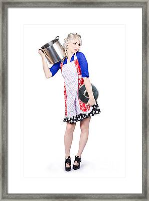 Pinup Housewife With A Cooking Pot Framed Print