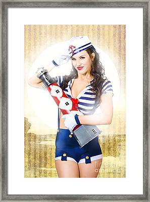 Pinup Portrait Of Young Happy Naval Woman Framed Print