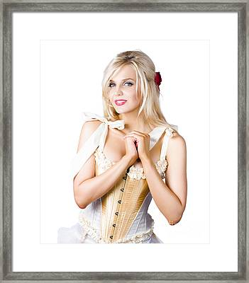 Pinup Woman In Corselet Dress Framed Print by Jorgo Photography - Wall Art Gallery