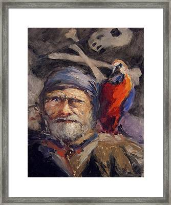 Pirate With Bird And Flag Framed Print by R W Goetting