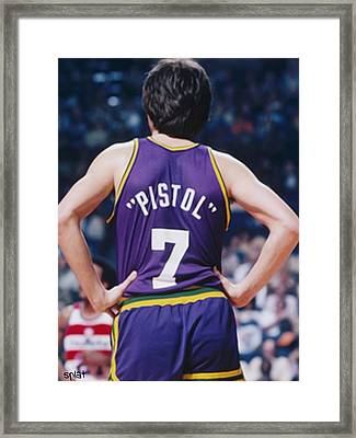 Pistol Pete Maravich Framed Print by Paint Splat
