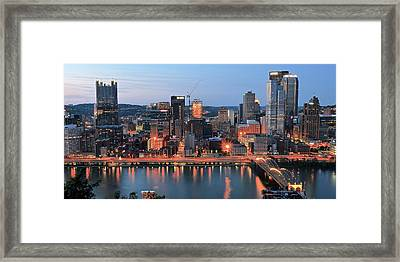 Pittsburgh At Dusk Framed Print by Frozen in Time Fine Art Photography
