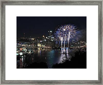 Pittsburgh Fireworks At Night Framed Print