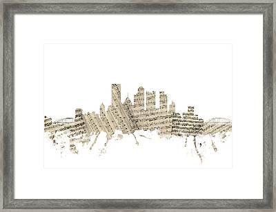 Pittsburgh Pennsylvania Skyline Sheet Music Cityscape Framed Print