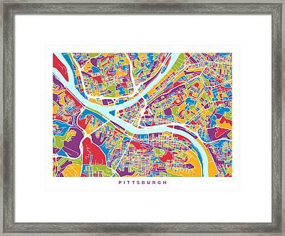 Pittsburgh Pennsylvania Street Map Framed Print by Michael Tompsett