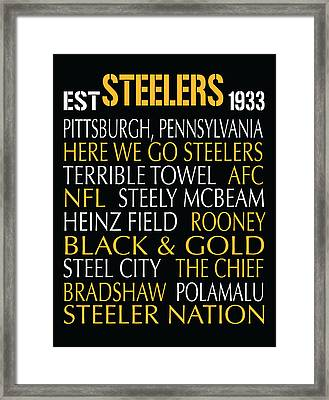 Pittsburgh Steelers Framed Print by Jaime Friedman