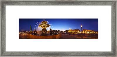 Place De La Concorde At Dusk, Paris Framed Print by Panoramic Images