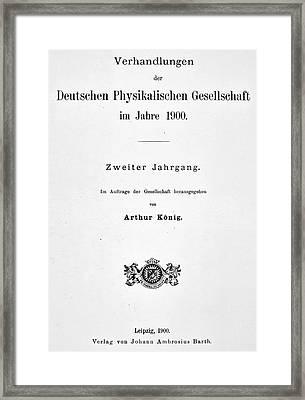 Planck Quantum Theory Framed Print by Granger