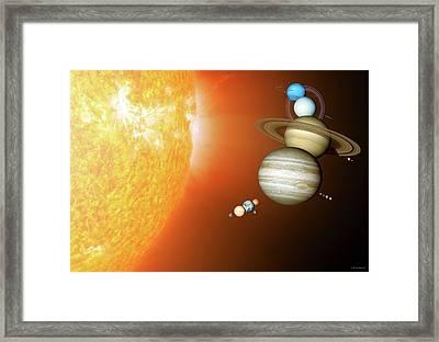 Planets Size Comparison Framed Print by Detlev Van Ravenswaay
