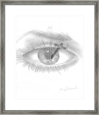 Plank In Eye Framed Print