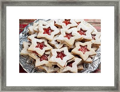 Plate Of Christmas Cookies Framed Print by Leslie Banks