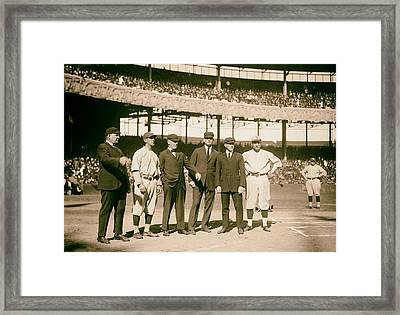 Players And Umps - 1921 World Series Framed Print by Mountain Dreams