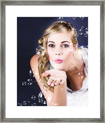 Playful Bride Blowing Bubbles At Wedding Reception Framed Print by Jorgo Photography - Wall Art Gallery