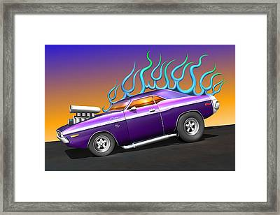 Plum Crazy Challenger Framed Print by Stuart Swartz