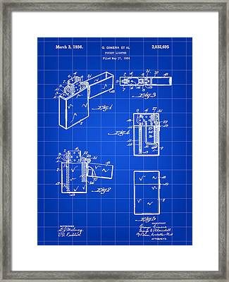 Pocket Lighter Patent 1934 - Blue Framed Print by Stephen Younts