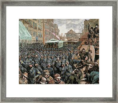 Police Officers Dispersing The Strike Framed Print by Prisma Archivo