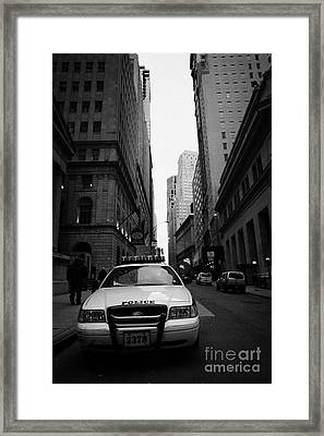 Police Squad Car On Wall Street New York City Framed Print